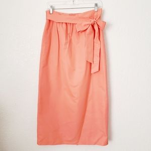 J. Crew Faille Tropical Guava Tie Waist Midi Skirt